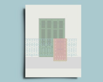 Balcony with kilim print-tribal minimalist Poster as a greetingcard/postcard/Wall Art/wall decor