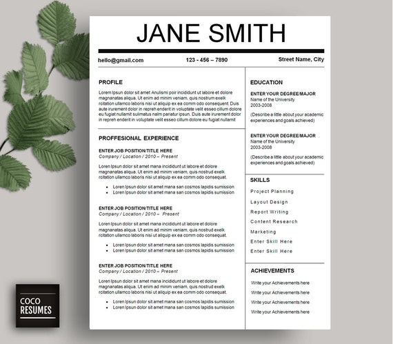one page resume template cv template for ms word mac or pc. Black Bedroom Furniture Sets. Home Design Ideas