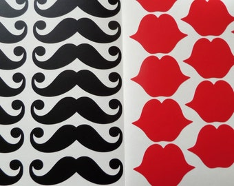 12 pairs vinyl mustaches and lips stickers, mustache party cup decals, moustache decorations, mustache labels, lips decals, lips stickers
