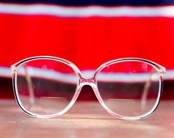 Vintage 1980s Tura Bifocal Prescription Oversized Pink & Purple Eyeglasses
