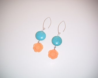 Turquoise dangle earrings, coral rose dangle earrings, sterling Silver, country inspired, gift idea