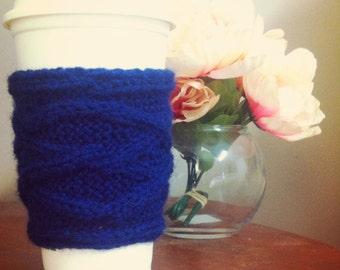 Knit Coffee Sleeve, Handmade Mug Cozy, Navy Blue Knitted Coffee Cozy, Travel Mug Sleeve