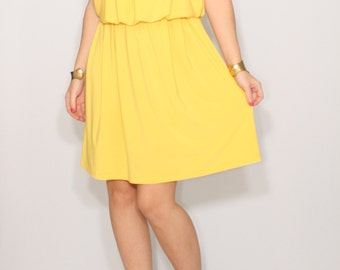 Yellow dress Short Bridesmaid dress Spaghetti strap dress