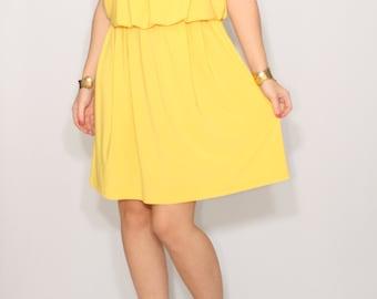 Yellow dress Short Bridesmaid dress Spaghetti strap dress Custom dress
