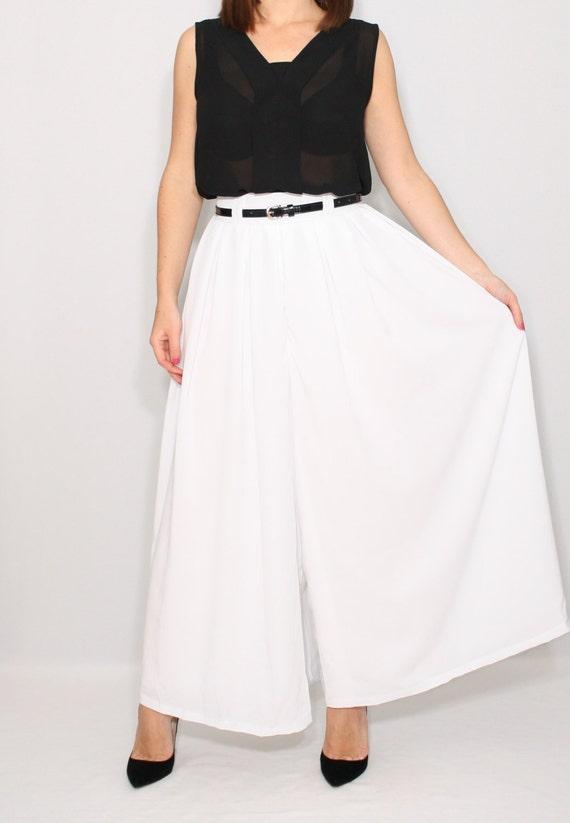 pantalon blanc palazzo pant femme jupe pantalon d t tenue de. Black Bedroom Furniture Sets. Home Design Ideas