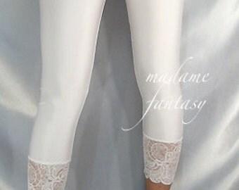 White shiny spandex leggings Lace cuffs