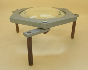 Vintage Science Lab Bench Magnifying Lens on Legs - Hexagonal Shape