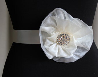 Organza flower belt with diamante