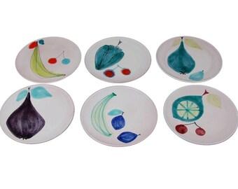 Set 6 Swiss Mid-Century Modern Rabiusla Schneider Studio Pottery Plates