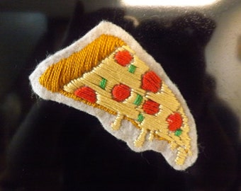 Embroidered Pizza Magnet on Felt