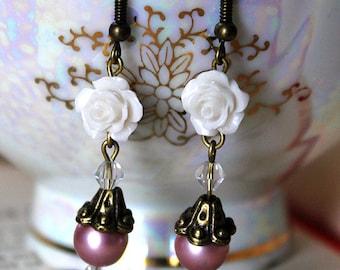 Dusty Rose Pink & White Roses Earrings