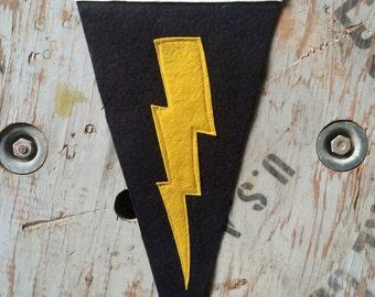 Lightning Bolt  Wool Felt Pennant- Black, Wall Hanging, Room Decor, Flag, Banner
