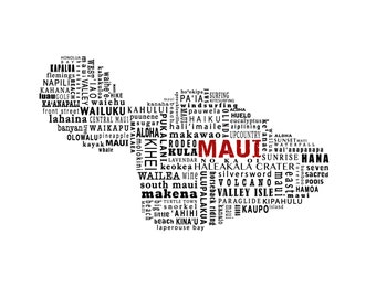 Maui Typography Map Print