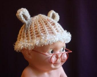 Cream Baby Hat With Bear Ears