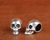 Sterling silver skull beads,Solid 925 sterling skull bead,silver skull,Silver skull spacer,Big hole skull beads,Skull head,Skull bracelet