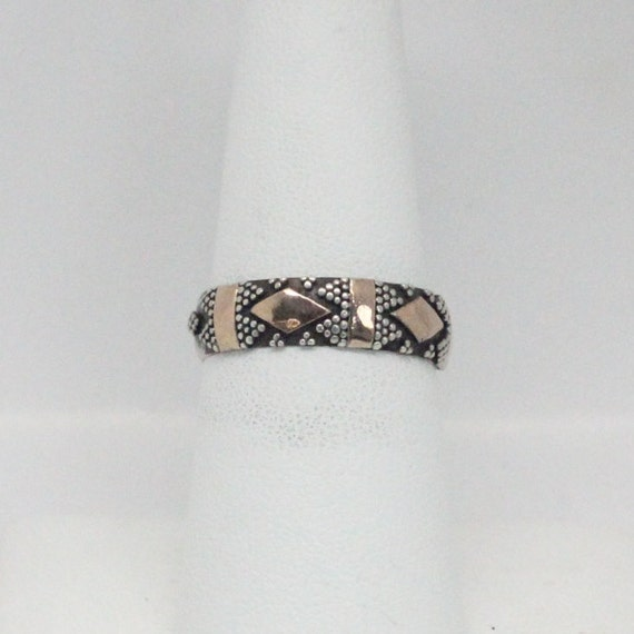 Tribal 14k Gold Plated Sterling Silver Ring | Tribal Silver Ring | Black and Silver Ring | Black Silver and Gold Ring