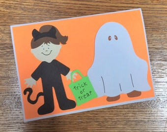 Cat & Ghost Trick or Treat Halloween Card