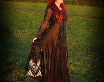 Black alternative gothic wedding dress, Halloween wedding gown, cobweb spider web adult witch costume, velvet romantic ball gown