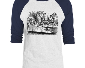 Mintage Alice in Wonderland- Mad Hatters Tea Party 3/4-Sleeve Raglan Baseball T-Shirt