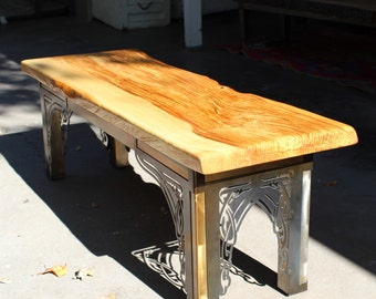 Spalted Oregon Ash wood tabletop on custom Art Nouveau metal base
