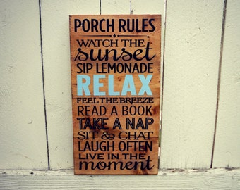 Porch Rules Sign – Wood Porch Rules Sign – Patio Rules Sign
