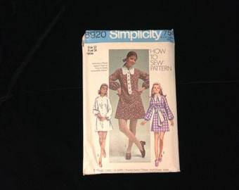 Dress Pattern, Simplicity Pattern # 8920, Size 12,