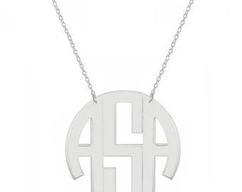 14k solid white gold block monogram necklace - 3 initials white gold monogram necklace