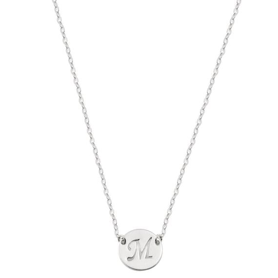 14k solid white gold initial necklace gold disc necklace. Black Bedroom Furniture Sets. Home Design Ideas