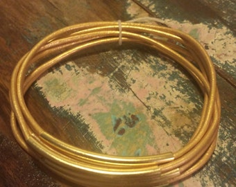 Gold Leather Cord Bangles with Gold Metal Tubes, Set of 6 Bangles