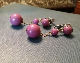 Vintage Lavender Lucite Clip On Earrings