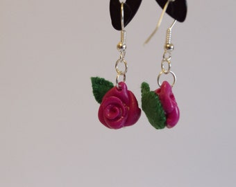 FIMO Rose Earrings