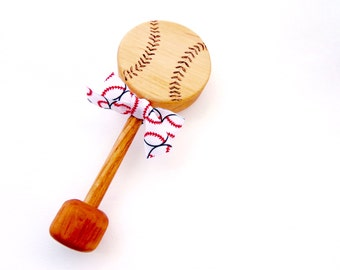 Personalized Wooden Baseball Baby Rattle | Natural Wood Rattle Teething Toy | Heirloom New Baby Shower Gift