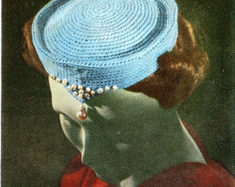 1950's Crocheted Pillbox Hat for Mid Century Ladies Accented with Pearls PDF Pattern Instant Download
