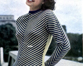1949 Mon Tricot French Mid Century Modern Chevron Stripe Fitted Knitted Sweater  PDF Pattern Instant Download