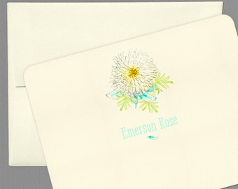 Personalized Stationery Set, Watercolor Flower Notecards - Set of 6