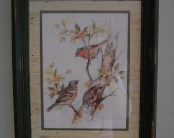 Paul Whitney Hunter Bird Print with Painted Distressed Frame