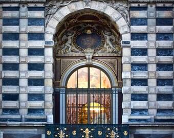 Paris Fine Art Print, Louvre Window, Musee du Louvre, Architecture Photography, Louvre Facade, Paris at Night, Quai François Mitterrand,
