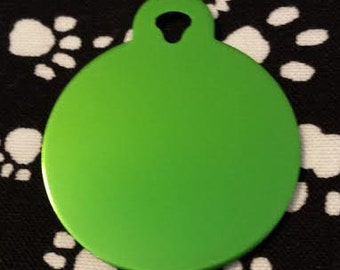 Pet ID Tags, Dog Tags, Cat Tags, Engraved Pet ID Tags, Large Green Circle Tag