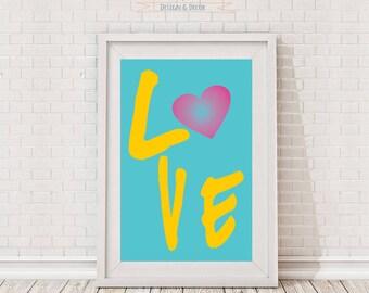 Love, Printable, Digital art work, Wall decor, Home decor, Heart, Color