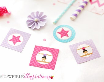 Dark Girls Gymnastics Printable Party Favor Tags, 2 IN Cupake Toppers, Gymnastics Party Square Tags, Gymnastics Birthday Tags, Gymnast