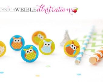 Boy Polka Dot Owls Printable 1 Inch Circles, Bottle Cap Circles, Printable Owl Circles, Printable Candy Circles, Owl Party, Confetti
