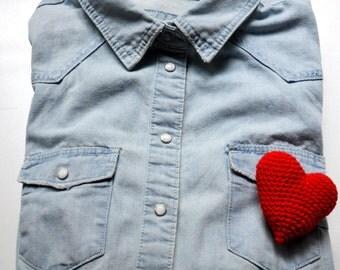 Romantic red heart brooch