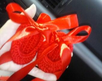 Crochet Ballet Shoes Ornament. Ornamento zapatillas ballet de crochet.