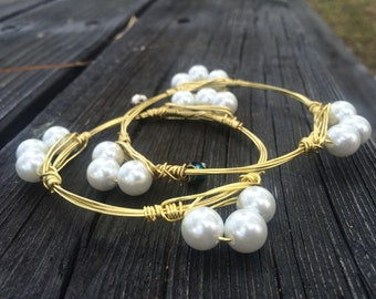 Pearl Wire Wrapped Bangle