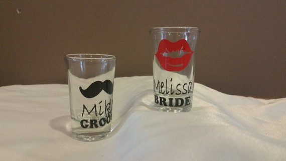 sale personalized shot glasses wedding mr mrs bride groom