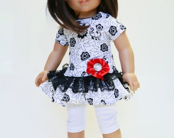 American made Girl Doll Clothes, 18 inch Doll Clothing, Black/White Print Dress with Capris made to fit like American girl doll clothes