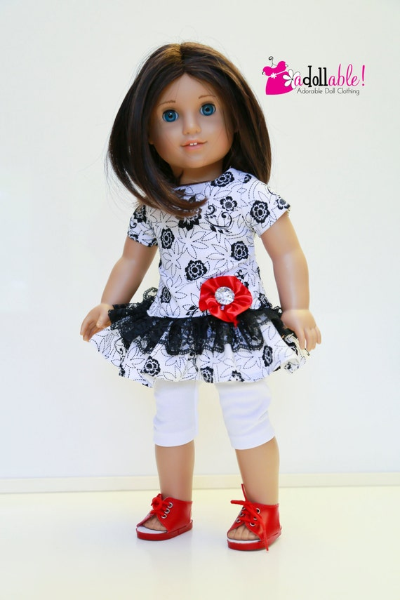 American Girl Doll Clothes, Black/White Print Dress with Red Ribbon Flower
