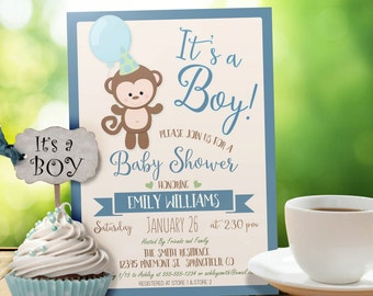 Monkey Baby Shower Invitation - Personalized Printable DIGITAL FILE - It's a Boy