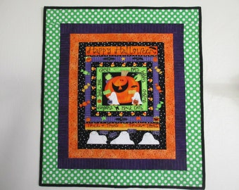 Happy Halloween Wall Hanging/Quilt  custom quilted, ready to hang