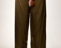 30% OFF hippie silk pants Pajama pants S / M 70s boho chic style Festival Gypsy girls Bohemian lovers khaki green long feather headdress Marlene pants